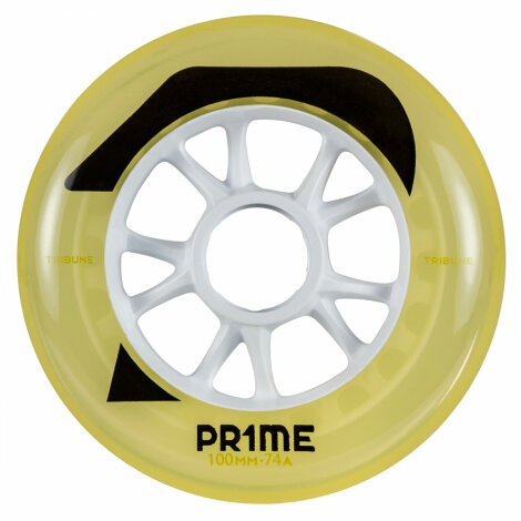 Prime Skaterhockey Rolle Tribune Yellow 100mm/74a 3er-Pack