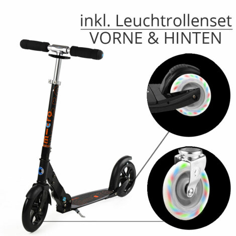 Micro Scooter Black inkl. Leuchtrollen