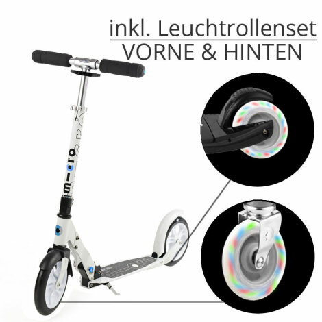 Micro Scooter White inkl. Leuchtrollen